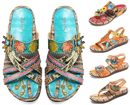 Camfosy Damen Leder Sandalen Vintage Stroh Sandale Flip Flops mit Einlegesohle Geflochtene Komfortable Flache Schuhe Urlaub Freizeit Mules 2019 Sommer Blau 38 EU