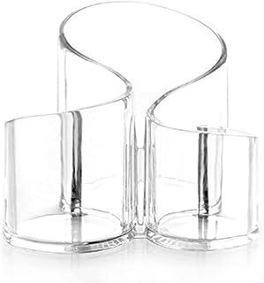 Golfvormige Cosmetische Borstel Opbergemmer, 3 Compartimenten Transparant Acryl Multifunctionele Waterdichte Opbergdoos me...