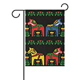 "FORMRS Garden Flag Yard Decor, Swedish Dala Horse Folk Garden Flag Stand for Patio Lawn Garden Indoor & Outdoor Use 28""x40"""