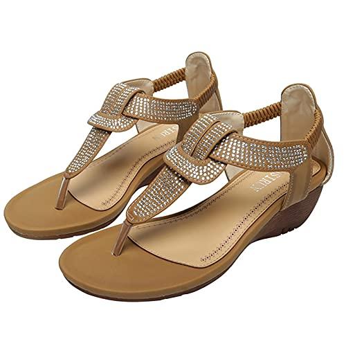 KovBexJa Tacón De Cuña Suela De Goma Moda Ocio Vacaciones Chanclas Sandalias De Punta Redonda para Mujer Estilo Bohemio Diamantes De Imitación Playa Zapatillas De Mujer Marrón