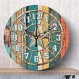 Hkkhkk Retro Horloge Murale Muet Salon Jane Pays Rustique Européen Nostalgique...