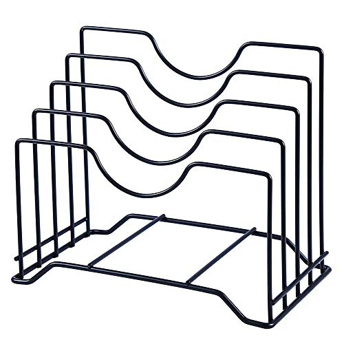 Cutting Board Holder Pot Lid Organizer Rack can hold up to 1.18 inches thick Cutting Board,Bakeware,Baking Tray,Pan,Lid and Book (Black)