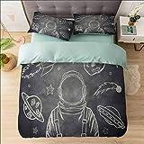 Aishare Store Juego de funda de edredón para cama King, moderno, Space Planets Sketch Art, lujoso 100% microfibra súper suave, juego de funda de edredón de 3 piezas, incluye 2 fundas de almohada
