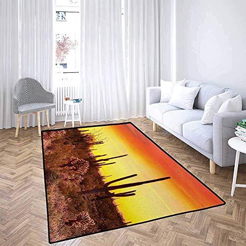 LAURE Tappetino per Cani Saguaro Eve Sky in Terra sterile con Cactus e strane Erbacce tutt'intorno alla Terra asciutta Foto Rosso Giallo Flagship Carpets