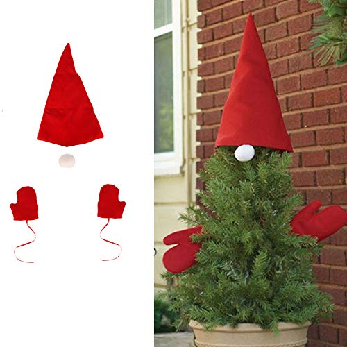 MASCARE Christmas Tree Topper Santa Hat Xmas Gloves Ornament for Christmas Tree, New Year Holiday Home Party Decorations Supplies