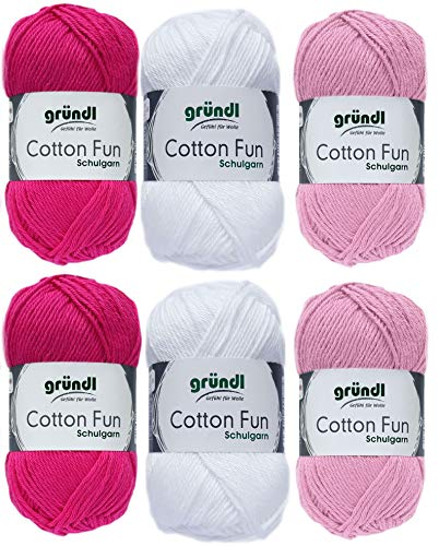 6x50g Gründl Cotton Fun Häkelgarn Strickgarn inkl. detallierter Anleitung für EIN Meerschweinchen (Rosa Pink Mix 601)