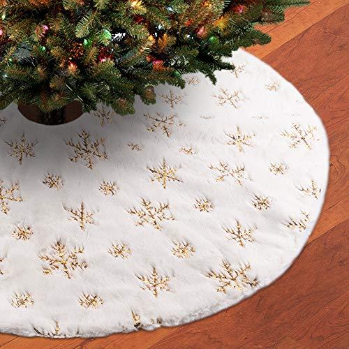 FREESOO Weihnachtsbaumdecke Weihnachtsbaumständerhüllen Christbaumdecke Rund Weihnachtsbaum Rock Christbaumständer Teppich Weihnachtsdekoration Weihnachtsbaum Teppich 122CM Gold
