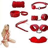 7 pcs/Set Adụlt ɃDŚM Bǿňdâgé Adjustable Rêšt-ŕáîntš Toys Leather Š&ëx Valentine's-Day Hândcuffs Collâr Blindfold Whïp Flïrt FetiŚh Sláve Binding Set red