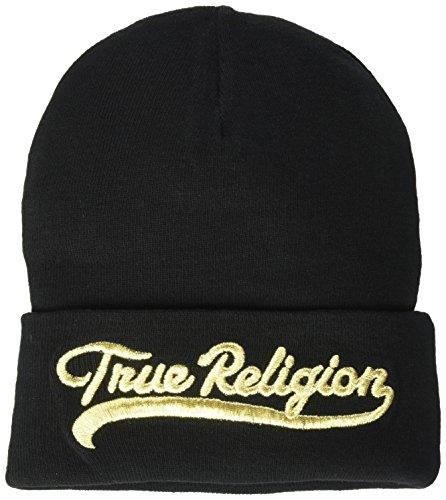 True Religion Herren Tr Script Watchcap Strickmütze, schwarz/Gold, Einheitsgröße