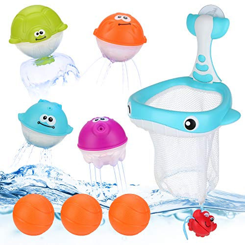 Joyoldelf 8 pz Giochi Bagnetto - 2-in-1 Giochi di Tiro e di Pesca con 4 Ocean Animal Ball + 3 Mini-Pallacanestro