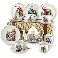 Image: Reutter Porcelain - Alice in Wonderland Large Picnic Set in Case