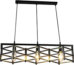 HN Lighting Chandelier American Retro Wrought Iron Pendant Light Simple Black Restaurant Bar Industrial Wind Grid Iron Cei...
