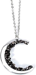 Ganghuo Collier avec pendentif en forme de lune en cristal pour femme