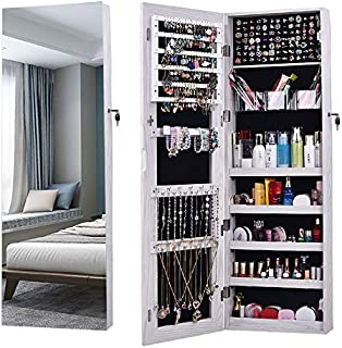 AOOU Jewelry Organizer Jewelry Cabinet,Full Screen Display View Larger Mirror, Full Length Mirror,Large Capacity Dressing Mirror Makeup Jewelry Armoire Jewelry Mirror Full Length Mirror (White)