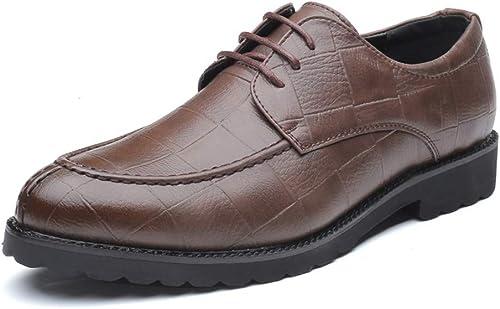 CHENDX Schuhe, Herrenmode Britischen Stil Atmungsaktiv Spitzschuh Oxford Casual Klassisches Gittermuster Schnüren Formelle Schuhe (Farbe   Braun, Größe   38 EU)