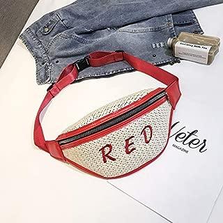 Fashion Single-Shoulder Bags Fashion Weaving Straw Color Letter PU Single Shoulder Bag Zipper Messenger Bag Waist Sports Chest Pockets Bag (Black) (Color : Red)