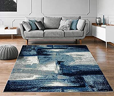 Luxe Weavers Lagos Collection 7558 Navy 8x10 Abstract Area Rug