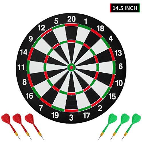 Gute Dartscheibe mit 6 Dart-Pfeilen,Dartboard Set,Zweiseitig,für Profis und Laien, 2 Spielfelder 36.5cm Klein