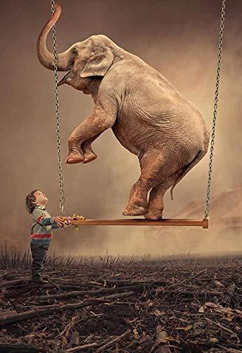 Swing Elephant und Boy-1000 Pieces Puzzles für Erwachsene Kids for Brain Challenge Große pädagogische intellektuelle Spiel-Heimdekoration