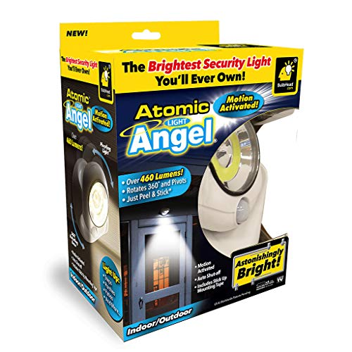 Official As Seen On TV Atomic Light Angel Cordless Motion Activated LED Light by BulbHead, Swivels 360-Degrees & Pivots, Shining 460 Lumens (Atomic Light Angel 1 Pack)