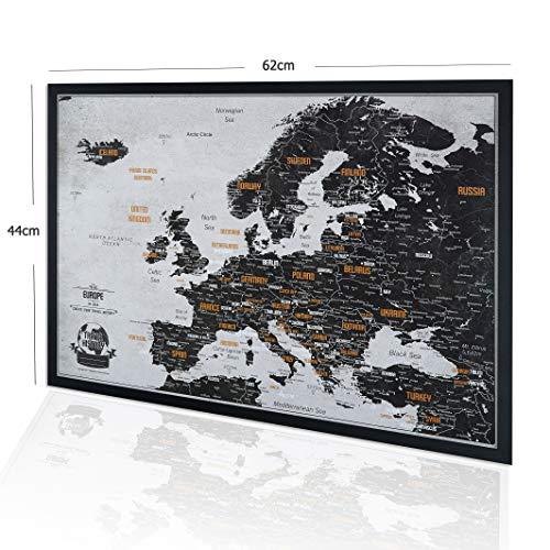 Europakarte Pinnwand mit Stecknadeln Bonus 100 Pins, Abenteuer Karte mit Rahmen, Personalisierte Karten mit Originalfarben, Hergestellt in der EU, 44x62 cm, Natürlicher Holzrahmen
