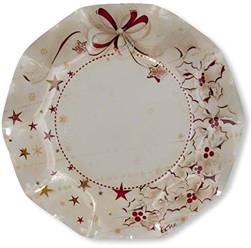 Exclusive Trade Srl - Fiocco rosso - 10 piatti di carta per feste natalizie