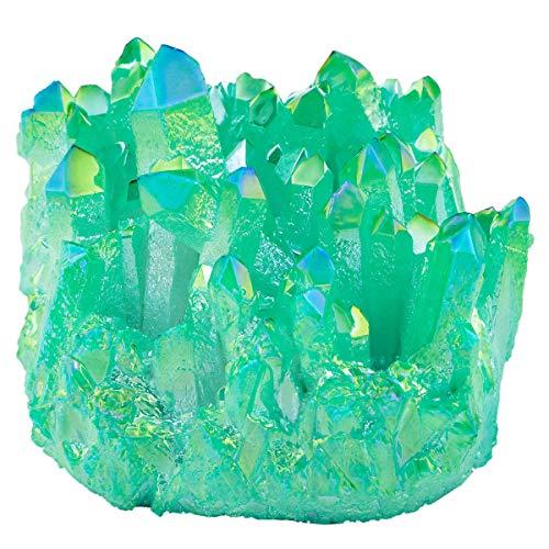 Nupuyai Titanium Coated Bergkristall Druse Rohstein unregelmäßige Kristall Cluster Quarz Geode Edelstein für Reiki Feng Shui Deko