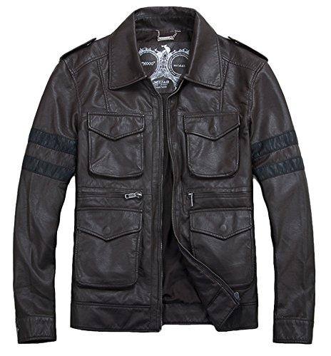 Icegrey Faux lederen Punk Racing Biker jas voor heren met meerdere zakken