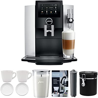 Jura S8 Superautomatic Touchscreen Espresso Machine with Milk Container, Bean Canister, Filter, Descaler & Espresso Cups Bundle (7 Items)