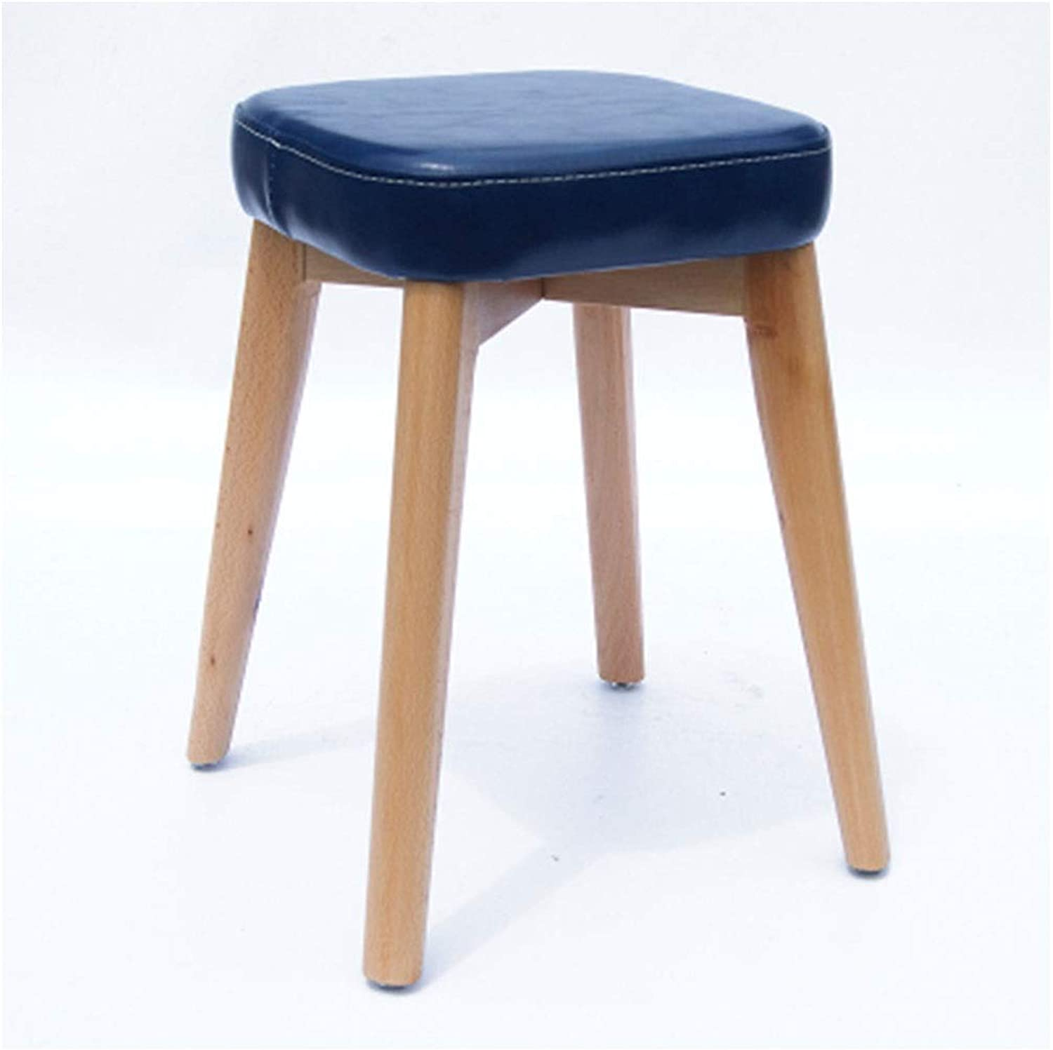 Stools- Wooden Bench- Stackable Storage Solid Wood Stool Small Round Stool Restaurant Home Leather Stool Low Stool Wooden Bench HATHOR-23 (color   I)