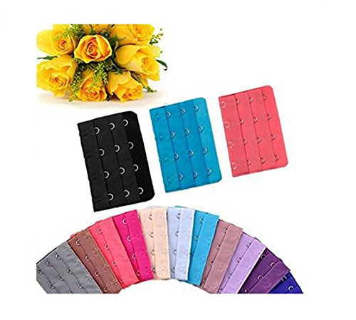 echo-ove echo-ove BH-Verlängerungsriemen für Damen, verschiedene Farben, 4 Haken, 3 Reihen, verstellbar, BH-Clip, BH-Verlängerung, Haken, 15 Stück
