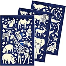 GS-6602 Wild Animals FANTASTIX Super Bright and Lasting Luminous Self-Adhesive Removable PVC Stickers for Kids Children Toddler Bedroom Wall Ceiling Decoration Glow in The Dark Decals