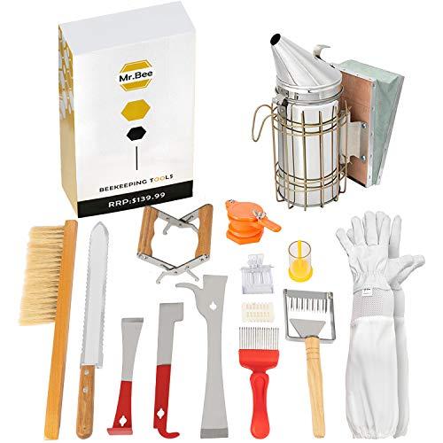 Beekeeping Supplies Tools Kit 14 Pcs for Beekeeper Necessary Bee Hive Supplies Beekeeping Starter Tool Kit PRO Edition