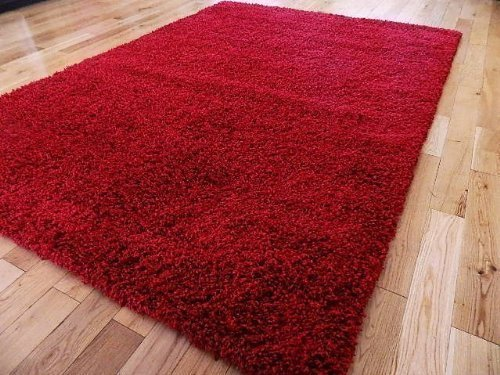FunkyBuys Shaggy Rug Plain 5 cm Thick Soft Pile Modern 100% Berclon Twist Fibre Non-Shed Polypropylene Heat Set - Available in 6 sizes on Amazon (Red, 120 cm x 170 cm (4ft x 5ft 6'))