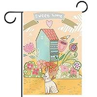 ガーデンフラッグ両面印刷防水ウサギスイートホーム 庭、庭の屋外装飾用