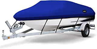 MSC Heavy Duty 300D Marine Grade Polyester Canvas Trailerable Waterproof Boat Cover, Pacific Blue,Fits V-Hull,Tri-Hull, Runabout Boat Cover,Full Size Boat Cover