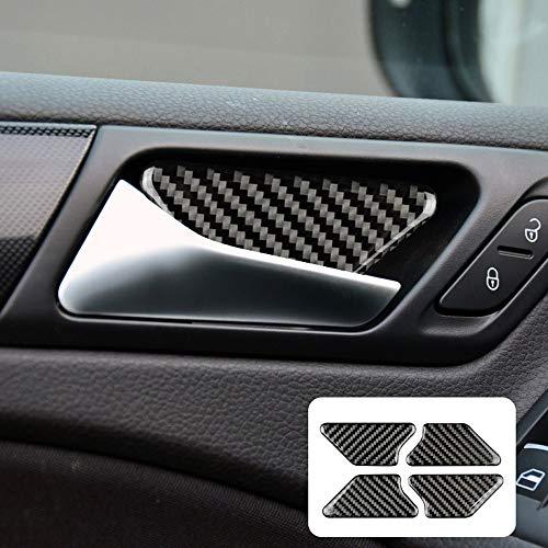 NEFELI 4Pcs Kohlefaser Auto Türgriff Abdeckung Aufkleber kompatibel mit VW Golf 6 GTI MK6 2008-2013 Zubehör