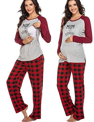 Ekouaer Maternity Nursing Pajama Set Long Sleeves Breastfeeding Sleepwear Soft Hospital Pregnancy pjs Sets