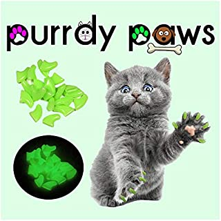 Purrdy Paws Soft Nail Caps for Cat Claws Ultra Glow-in-The-Dark Medium