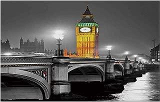 YOLIYANA London Durable Door Mat,The Big Ben and The Westminster Bridge at Night in UK Street River European Look Decorative for Home Office,17.7