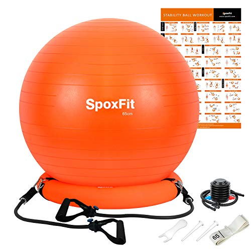 SpoxFit Exercise Ball Chair with Resistance Bands,...