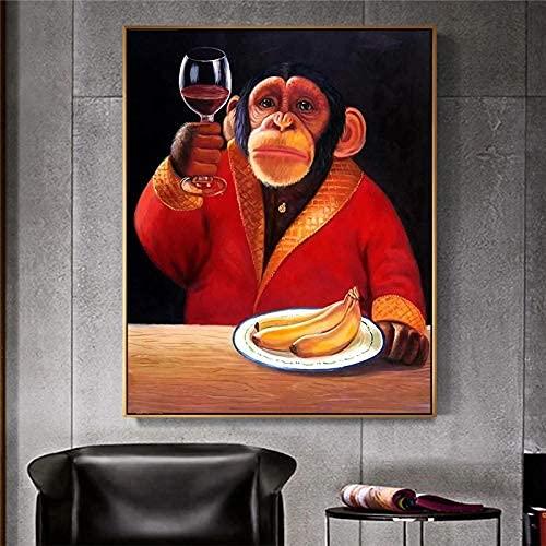Lienzo abstracto, arte de pared, cartel de animales, mono, chimpancé, bebiendo vino, fumando, imagen de dibujos animados para la sala de estar, decoración del hogar, 70x90cm sin marco