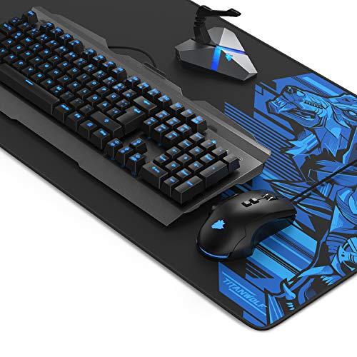 Preisvergleich Produktbild Titanwolf Gaming Set mit mechanischer Tastatur + Gaming Maus mit Auswechselbaren Tasten und Gewichten + Mauskabelhalter mit Hubfunktion + XXL Mauspad