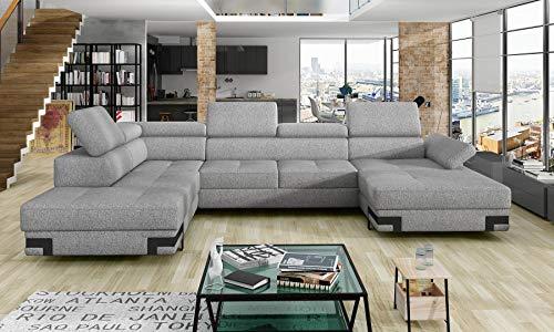 all4all Ecksofa mit Schlaffunktion Elvio XL Wohnlandschaft XXL Big Sofa mit Bettkasten Gewebe U-Form Modern Loft Stil Grau 11 (Links)