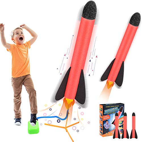 ATOPDREAM Toys for 4-12 Year Old Boy Girl, Outdoor Toys Garden Toys 4 Year Old Boy Gifts Stomp Rocket Toys for Kids 4-12 Year Old Birthday Gifts Boys Toys Age 4-10 Gifts Rocket Red