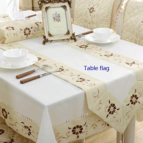 Yongge Tuch tischdecke rechteckig Bestickt tischfahne tischdecke Wohnzimmer Dekoration couchtisch Tuch Abdeckung Handtuch (Color : Milky, Size : Table Flag 40X220cm)