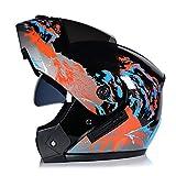 WWMH Klapp-Helm Motorrad-Helm Flip-Up Modular-Helm Integral-Helm Roller-Helm Full-Face Scooter-Helm für Männer und Frauen Outdoor-Radsportaktivitäten,D,XL