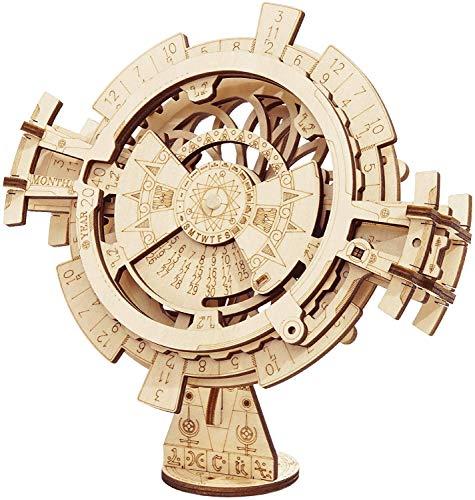 Robotime 3D-Puzzle, Uhrwerk-Bausatz, DIY Mechanisches Modellbausatz, lasergeschnitten, Holzkunst (ewiger Kalender)