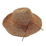 Tinksky Amplia los Casquillos del Visera Plegable Sombrero de Paja Playa Sol Verano,...