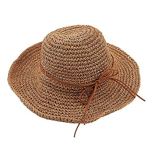 Tinksky Tinksky Sommer-Strand-Strohhut-breite Rand-Kappen-Sonne faltbar für Frauen (helles kakifarbiges)
